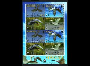 Montserrat: 2010, Kleinbogen Rötelreiher (WWF-Ausgabe)