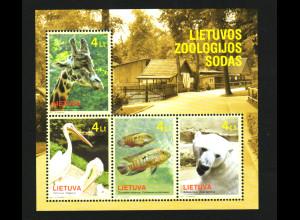 Litauen: 2011, Blockausgabe Zoo Kaunas (Tiere)