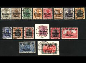 Belgien: 1916: 2. Überdruckausgabe (teilweise Briefstücke, M€ 200,-)