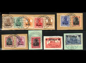 1916, Etappengebiet West (Ausgabe komplett, alles Briefstücke, M€ 140,-)