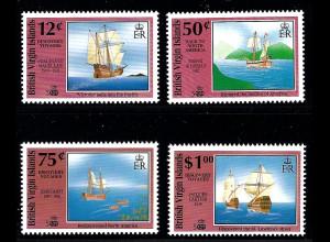 Jungferninseln: 1991, Entdeckungsreisen (500 Jahre Amerika, Segelschiffe)