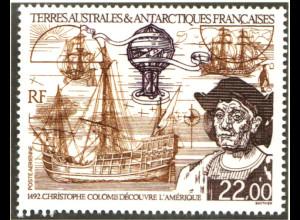 TAAF: 1992, Entdeckung von Amerika (Christoph Kolumbus und Segelschiff)