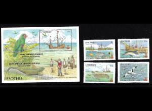 Lesotho: 1987, Entdeckung von Amerika (Segelschiffe und Tiere)