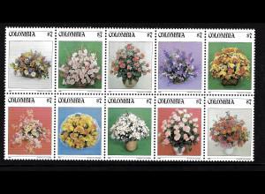 Kolumbien: 1982, Blumensträuße (10er-Bogenteil)