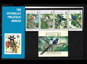 Seychellen: 1996, Seychellen-Paradiesschnäpper (WWF-Ausgabe, Satz und Blockausgabe)