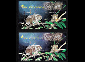 Malaysia: 2008, Blockpaar Nachtaktive Tiere (gez. und ungezähnt)