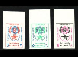 Saudi Arabien: 1962, Einzelmarken aus Blockausgabe Malariabekämpfung (ungezähnt)