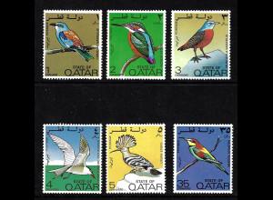 Katar: 1972, Vögel (Kurzsatz ohne Höchstwerte, dabei Kat. Nr. 530 Gummifehler)