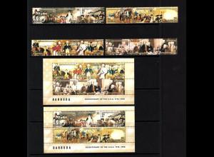 Antigua und Barbuda / Barbuda: 1976, 200 Jahre USA (Zusammendruckstreifen und Blockpaar)
