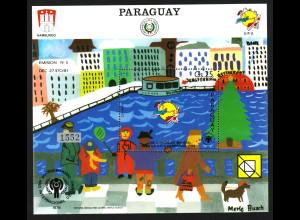 Paraguay: 1984, Blockausgabe Weltpostkongress (Kindergemälde des Hamburger Hafens)