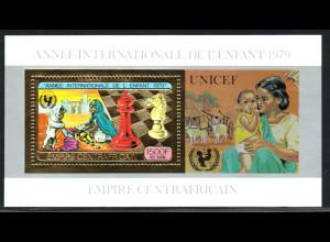 Zentralafrikanische Republik: 1979, Goldblockausgabe Jahr des Kindes (Motiv Schach)