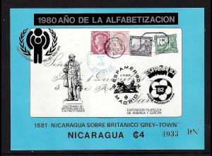 Nicaragua: 1980, Überdruck-Blockausgabe Alphabetisierungskampagne Briefmarkenraritäten (Motiv Marke auf Marke mit Aufdruck, Jahr des Kindes, Rowland Hill und Fußball-WM)