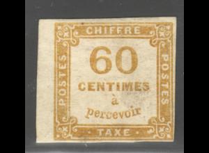Frankreich: Portomarke: 1871, 60 C. gelbbraun (gepr. Schollmeyer BPP)
