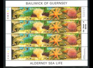 Guernsey - Alderney: 1933, Kleinbogen Meerestiere (WWF-Ausgabe, enthält 4 Viererstreifen)