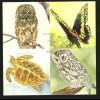 Guyana: 1992, Blockausgabe Tiere mit silbernem Aufdruck (Eulen, Schmetterling und Schildkröte)