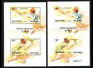 Bulgarien: 1990, Blockpaar Tennis (gez. und ungezähnt)