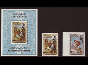Aden - Kathiri State of Syrien: 1968, Heiliger Georg zu Pferd (gez. und ungezähnt sowie gez. Blockausgabe, M€ 47,-)