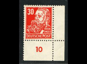 DDR: 1952, Köpfe II 30 Pfg. (Eckrandstück unten rechts)