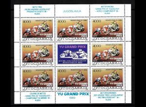 Jugoslawien: 1989, Kleinbogen Motorrad-WM 4000 Din. (dabei auf Feld 8 fehlende Inschrift PTT)