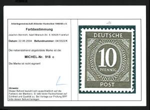 1946, Ziffern 10 Pfg. bessere Farbe orangebraun, postfrisch (Fotobefund)