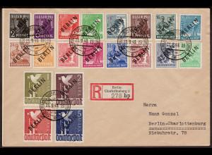 Berlin: 1948, Schwarzaufdruck komplett als Satzbrief...
