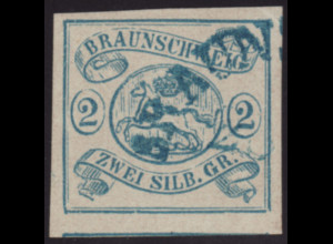 Braunschweig: 1852, Wappen 2 Sgr. blau vollrandiges sauber gestempelt,