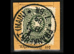 1887, 50 Pfg. dunkelgrünoliv (zentrisch gest. Briefstück, farbgepr. BPP)