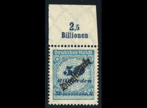 DR-Dienstmarken: 1923, Schlangenaufdruck 50 Mrd. Mk. (Oberrand Plattendruck A)