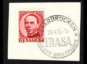 "Saarland: 1950, A. Kolping (Briefstück, Sonderstempel ""IBASA"", gepr. Ney BPP)"