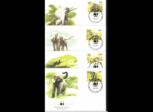 Sri Lanka: 1986, Ersttagsbriefe Elefanten (WWF-Ausgabe)