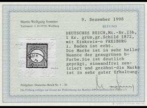 Deutsches Reich: Gr. Brustschild 1 Kr. in der guten Farbe dunkelgrün;