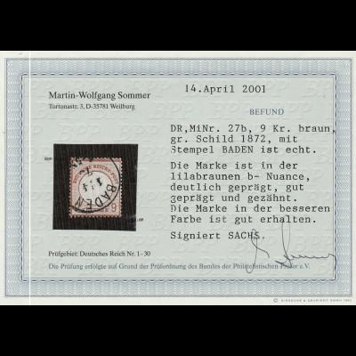 """Deutsches Reich: Gr. Brustschild 9 Kr. lilabraun (zentrischer K1 """"Baden"""")"""