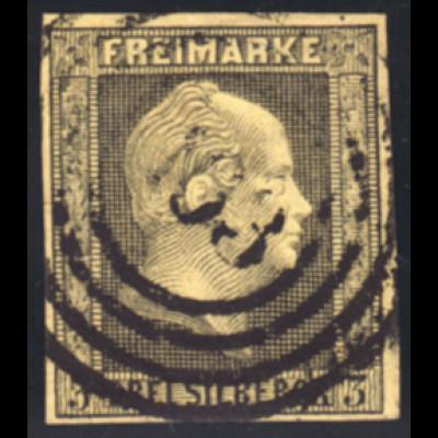 "Preussen: 1850, 3 Sgr., vollrandige Marke zentrischer Nummernstempel ""163"""