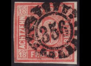 """Bayern: 1862, Ziffern 18 Kr. zinnoberrot, zentr. offener Mühlradstempel """"356"""""""