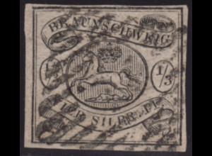 Braunschweig: 1852, Wappen 1/3 Sgr. schwarz sauber gestempeltes Stück