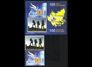 Kosovo: 2007, Europa-Cept (Pfadfinder, Satz und Blockausgabe, M€ 100,-)