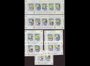 Elfenbeinküste: 2005, Blocksatz 50 Jahre Europamarken (7 Blöcke, Motiv Landkarten und Nutzpflanzen, M€ 100,-)