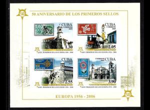 Kuba: 2005, Blockausgabe 50 Jahre Europamarken (ungezähnt, Motiv Marke auf Marke und Gebäude)