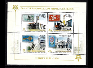 Kuba: 2005, Blockausgabe 50 Jahre Europamarken (Motiv Marke auf Marke und Gebäude)