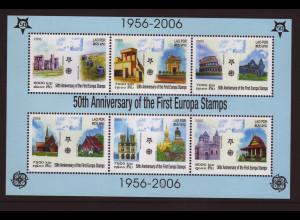 Laos: 2005, Blockausgabe 50 Jahre Europamarken (Motiv Gebäude)