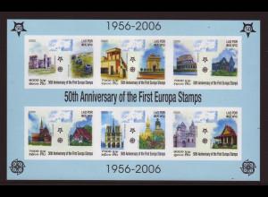 Laos: 2005, Blockausgabe 50 Jahre Europamarken (ungezähnt, Motiv Gebäude)