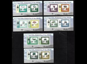 Mongolei: 2006, Blocksatz 50 Jahre Europamarken (6 Blöcke, Motiv stilisierte Cept-Ausgabe 1957)
