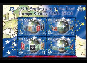 Samoa: 2005, Blockausgabe 50 Jahre Europamarken (Motiv Europamarken auf Briefmarken)
