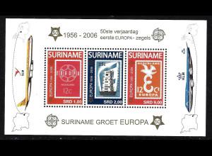 Surinam: 2006, Blockausgabe 50 Jahre Europamarken (Motiv Europamarken auf Briefmarken und Flugzeuge)