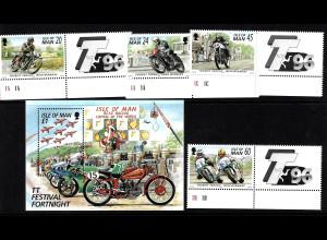 Insel Man: 1996, Motorräder (Satz und Blockausgabe)