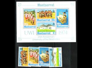 Montserrat: 1974, Westindische Universität (Satz und Blockausgabe)