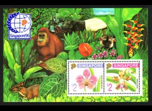 Singapur: 1995, Blockausgabe Briefmarken-Ausstellung (Motiv: Orchideen und Affen)