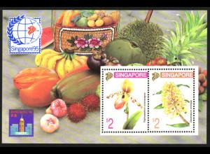 Singapur: 1994, Blockausgabe Briefmarken-Ausstellung (Motiv: Orchideen)