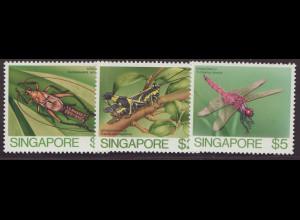 Singapur: 1985, Freimarken Insekten nur Großformate 1, 2 und 5 $