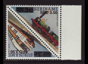 Surinam: 2005, Überdruckausgabe Eisenbahn als Kehrdruckpaar (Dreiecksmarken)
